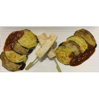 Berenjena, Calabacín y Tofu asados con salsa de miso rojo